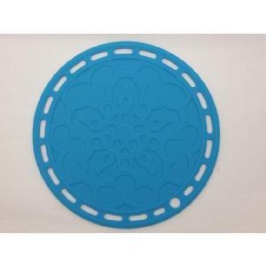 選べる5色 丸いシリコン製鍋敷き 水色|nishida-store
