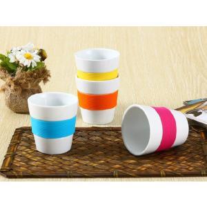 湯呑み 180ml シリコン バント付き コップ 陶磁器 白磁 軽い シンプル カラバリ おしゃれ キッズ 割れにくい|nishida-store