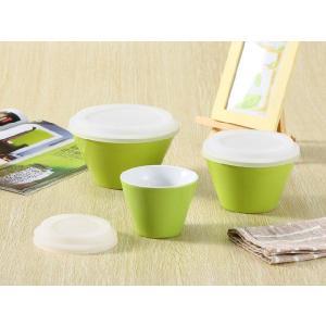 ボウル 3点セット 緑色  大 中 小 シリコン 蓋付き ラップ不要 白い 無地 シンプル 強化磁器 容器|nishida-store