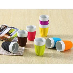 湯呑み 340ml シリコン バント付き コップ 陶磁器 白磁 軽い シンプル カラバリ おしゃれ キッズ 割れにくい|nishida-store