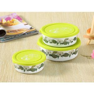 ボウル 3点セット 絵柄は梔子の花、蓋の色は緑  大 中 小 シリコン 蓋付き ラップ不要 白い 無地 シンプル 強化磁器 容器|nishida-store