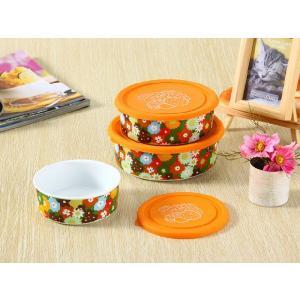 ボウル 3点セット 絵柄は花の群れ、蓋の色はオレンジ  大 中 小 シリコン 蓋付き ラップ不要 白い 無地 シンプル 強化磁器 容器|nishida-store