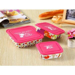 ボウル 3点セット 絵柄は各種果物、蓋の色はピンク  大 中 小 シリコン 蓋付き ラップ不要 白い 無地 シンプル 強化磁器 容器|nishida-store