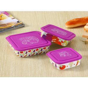 ボウル 3点セット 絵柄は各種果物、蓋の色は紫  大 中 小 シリコン 蓋付き ラップ不要 白い 無地 シンプル 強化磁器 容器|nishida-store