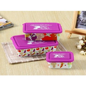 ボウル 3点セット 絵柄は果物、蓋の色は紫  大 中 小 シリコン 蓋付き ラップ不要 白い 無地 シンプル 強化磁器 容器|nishida-store