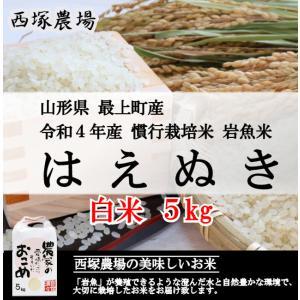 慣行栽培米はえぬき岩魚米 (平成30年産)白米 5kg|nishiduka-farm