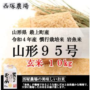 【新米】 慣行栽培米 山形95号 岩魚米(平成30年産)玄米 10kg|nishiduka-farm