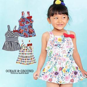 オーシャンアンドグラウンド(Ocean&Ground)水着 女児 リボンフレアワンピース 紫外線防止(返品・交換不可商品)|nishiki