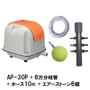 安永(ヤスナガ)エアーポンプ AP-30P+6方分岐管+エアーチューブ10m+エアーストーン(AQ-15)6個 【送料無料 但、一部地域送料別途 代引/同梱不可】|nishikigoiootani