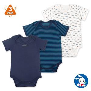 ベビー服 男の子 3枚組フライス半袖ショルダーロンパース肌着(車・ボーダー) 70cm・80cm・90cm・95cm 赤ちゃん ベビー 新生児 乳児|nishimatsuya