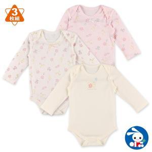 ベビー服 女の子 3枚組スムース長袖ショルダーロンパース肌着(ぬいぐるみ柄) 70cm・80cm・90cm  赤ちゃん ベビー 新生児 乳児 幼児|nishimatsuya