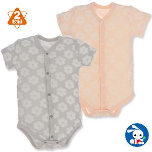 ベビー服  女の子 2枚組パイル半袖前開きロンパース肌着(フラワー) 60cm・70cm・80cm 赤ちゃん ベビー 新生児 乳児 幼児 子供服|nishimatsuya