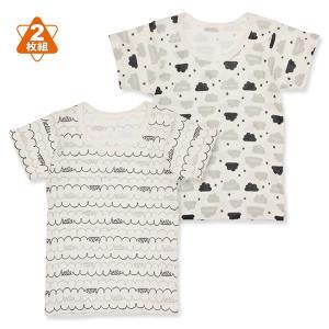ベビー服  男の子 2枚組半袖シャツ(もくもくHELLO) 80cm・90cm・95cm 赤ちゃん ベビー 新生児 乳児 幼児 子供服 おしゃれ|nishimatsuya