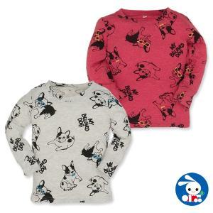 ベビー服 男の子 ブルドッグ総柄長袖Tシャツ 80cm・90cm・95cm 赤ちゃん ベビー 新生児 乳児 幼児 子供服 おしゃれ nishimatsuya