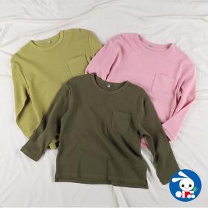 子供服 女の子 胸ポケット付きワッフル長袖Tシャツ 100cm・110cm・120cm・130cm・140cm ガールズ 女児 キッズ ベビー 小児 nishimatsuya