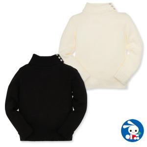 子供服 女の子 冬 ボタン付き襟袖折り返しニットセーター 110cm・120cm・130cm・140cm ガールズ 女児 キッズ ベビー 小児 児童 nishimatsuya