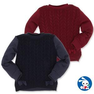 子供服 女の子 冬 裏起毛リボン付き切替えニットセーター 110cm・120cm・130cm ガールズ 女児 キッズ ベビー 小児 児童 子ども服 nishimatsuya