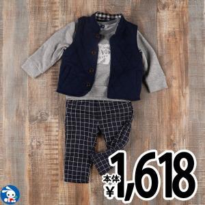 ベビー服 男の子 裏ボアトレーナー&ベスト&チェックパンツセットアップ 80cm・90cm・95cm 赤ちゃん ベビー 新生児 乳児 幼児 子供服|nishimatsuya