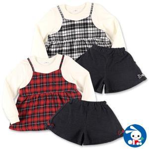 子供服 女の子 チェックレイヤード風Tシャツ&デニムキュロット 100cm・110cm・120cm・130cm ガールズ 女児 キッズ ベビー 小児|nishimatsuya
