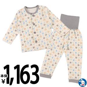 ベビー服 男の子 冬 腹巻付き前開きキルト長袖パジャマ(クマ・ウサギ・リス) 80cm・90cm・95cm 赤ちゃん ベビー 新生児 乳児 幼児|nishimatsuya