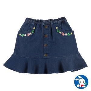 子供服 女の子 飾りボタン付きフラワー刺繍デニムスカート 110cm・120cm・130cm・140cm ガールズ 女児 キッズ ベビー 小児 児童|nishimatsuya