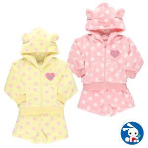 ベビー服 女の子 ボアフリース総柄パーカースーツ 80cm・90cm 赤ちゃん ベビー 新生児 乳児 幼児 子供服 おしゃれ|nishimatsuya