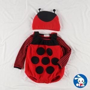 ベビー服 女の子 冬 フリースなりきり3点セット(テントウムシ) 70cm・80cm 赤ちゃん ベビー 新生児 乳児 幼児 子供服 おしゃれ|nishimatsuya