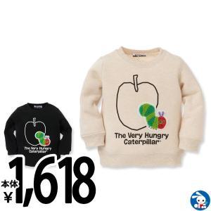 ベビー服 男の子 リンゴはらぺこあおむし 裏起毛トレーナーオートミール/ブラック 80cm・90cm・95cm 赤ちゃん ベビー 新生児 乳児 幼児|nishimatsuya
