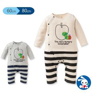 ベビー服 男の子 リンゴはらぺこあおむし 裏起毛前開きカバーオール オートミール/グレー 60cm・70cm・80cm 赤ちゃん ベビー 新生児 乳児の画像
