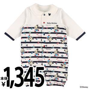 ベビー服 新生児夏 ミッキー襟付きマリンボーダー長袖コンビドレス 新生児50-60cm 男の子 女の子 赤ちゃん ベビー 乳児 幼児 子供服 おしゃれ|nishimatsuya