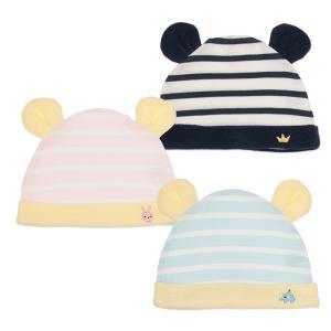 ベビー服 新生児 新生児耳付き帽子(ボーダー×ワンポイント刺繍) 42-48cm 男の子 女の子 赤ちゃん ベビー 乳児 幼児 子供服 おしゃれ|nishimatsuya