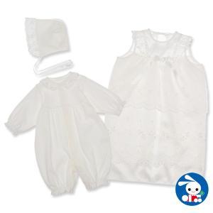 スムースフード付きセレモニーコンビドレス(段レース)【新生児50-60cm】|nishimatsuya