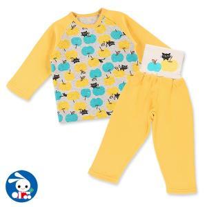 ベビー服 女の子 裏パイル起毛肩ボタン・腹巻付きラグラン長袖パジャマ(リンゴ&ネコ) 80cm・90cm・95cm 赤ちゃん ベビー 新生児 乳児|nishimatsuya