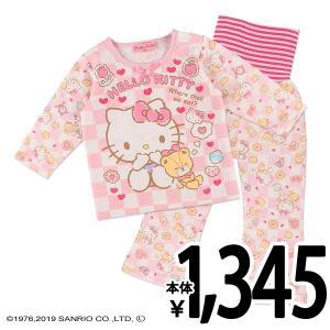 ベビー服 女の子 [サンリオ]腹巻き・肩スナップ付きキルト長袖パジャマ(ハローキティ) 90cm・95cm・100cm 赤ちゃん ベビー 新生児 乳児|nishimatsuya