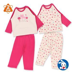 ベビー服 女の子 2枚組キルト+裏起毛長袖パジャマ(ネコ・リンゴ) 80cm・90cm・95cm 赤ちゃん ベビー 新生児 乳児 幼児 子供服|nishimatsuya