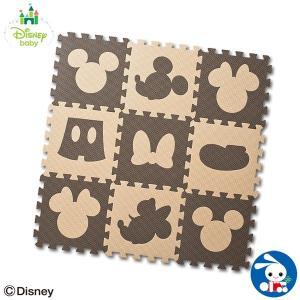 デザインマット ミッキーマウス&ミニーマウス(ブラウン&ベージュ)9枚入り|nishimatsuya