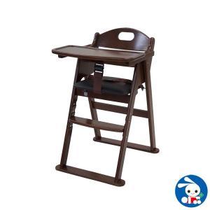 木製ワイドハイチェア ステップ切替(ブラウン)
