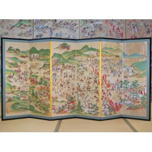 関ケ原 合戦図屏風 関ケ原合戦の全容が描かれる (大)の写真