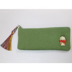 【オリジナル・逸品物】お地蔵さまの念珠袋 (緑色) 京都製【ちりめん・縮緬】|nissenren-kitaq