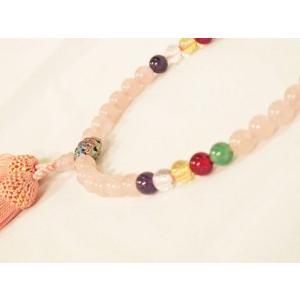【オリジナル・逸品物】念珠(数珠) ローズクォーツ 孔雀チタン 女性用|nissenren-kitaq