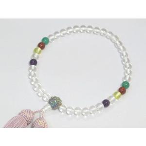 【オリジナル・逸品物】念珠(数珠) 水晶 孔雀チタン 女性用|nissenren-kitaq
