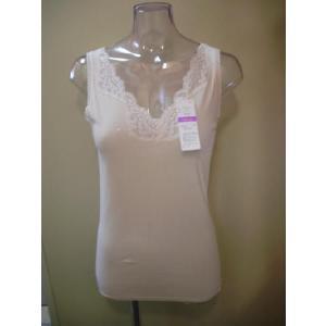 アサメリー綿100%,M・Lサイズ胸元レースノースリーブ ,アングル日本製ネコポス可|nissenren-numazu