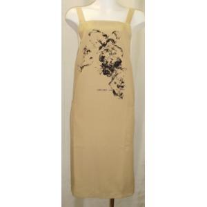 肩ひも2.5cm巾で後ろクロス、スクウエアーネックエプロン,シンプルなデザイン,イクコ日本製|nissenren-numazu