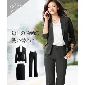 スーツ レディース セット スカート パンツ 洗える タイト 3点セット 大きいサイズ 股下72cm...
