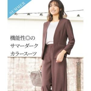 スーツ レディース 夏の多機能 リネンライク セミワイド パンツ 7〜23号 ニッセン nissen