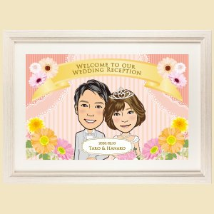 ウェルカムボード 洋風 WB01 似顔絵 結婚式 額縁付き 送料無料|niteraseal