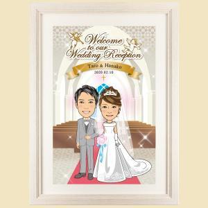 ウェルカムボード 洋風 WB14 似顔絵 結婚式 額縁付き 送料無料|niteraseal