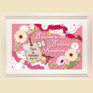 ウェルカムボード デザイン 文字 VB02 結婚式 額縁付き 送料無料|niteraseal