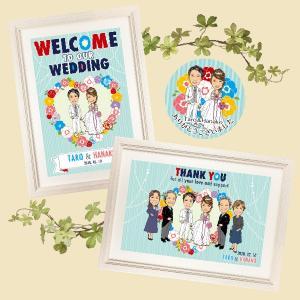 セット販売 ウェルカムボード+ファミリーボード(サンクスボード)+シール SB10 結婚 ウェディングボード|niteraseal