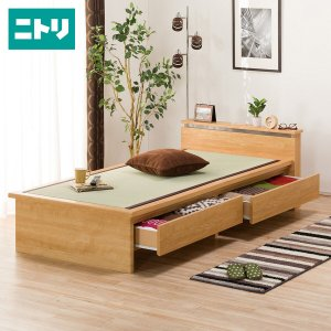 シングル畳ベッド(シデン C38引出し付き LBR) ニトリ 『配送員設置』 『5年保証』
